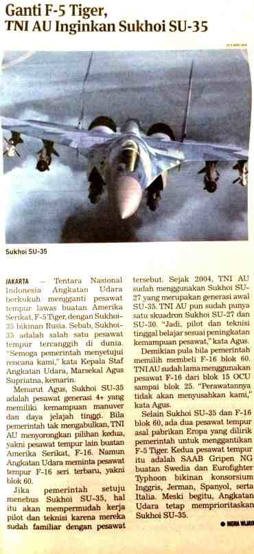 TNI AU ingin SU 35